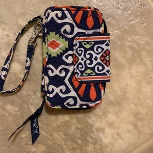 Vera Bradley blue and red patterned wristlet